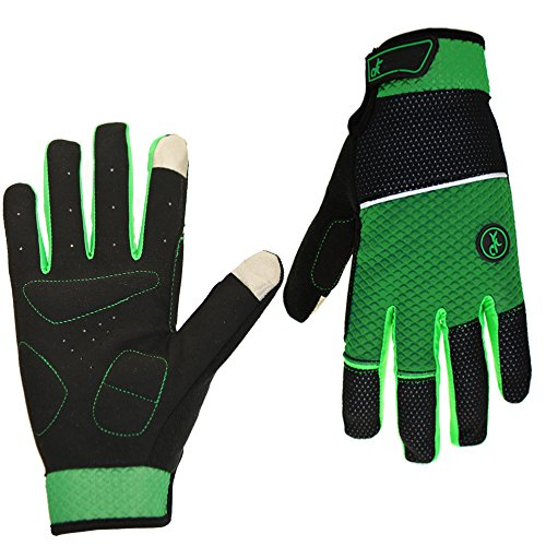 Cycling Gloves Mountain Bike Gloves Road Racing Bicycle Gloves Light Silicone Gel Pad Riding Gloves Touch Recognition Full Finger Gloves Men/Women Work Gloves (Green, L)