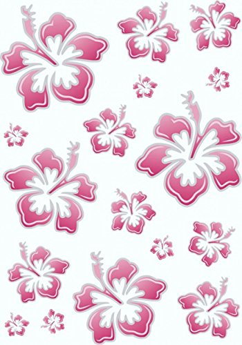 Aufkleber Hibiskusblüten-Set, 300 x 200 mm, rosa/silber ~~~~~ schneller Versand innerhalb 24 Stunden ~~~~~