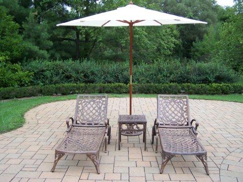 oakland living mississippi cast aluminum 2 chaise lounges. Black Bedroom Furniture Sets. Home Design Ideas