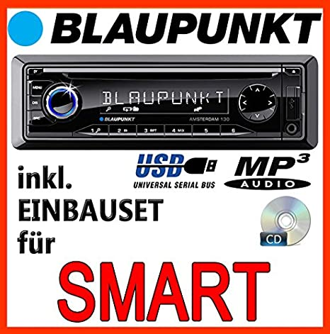 Smart 450 bleu-bLAUPUNKT amsterdam 130 cD/mP3/uSB avec kit de montage