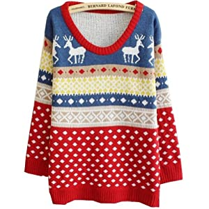 Women Girls Fashion Deer Dot Deer Jubilant Red Sweater