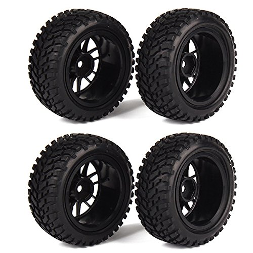 WEONE RC 1:10 Wheel Rim Rubber Tyre Tires for Off-Road Vehicle Black (Pack of 4) (Rc Slash Tires compare prices)