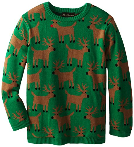 Alex Stevens Big Boys' Ugly Christmas Sweater All Over Reindeer Pattern, Green Combo, Medium