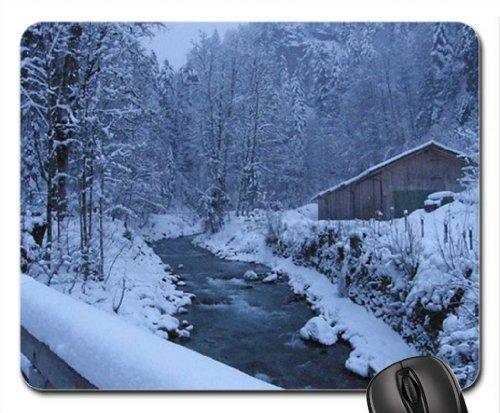 Cold Babbing Brook Mouse Pad, Mousepad (Winter Mouse Pad)
