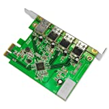Uspeed PCI-E to USB 3.0 4-Ports Express Card Adapter with 4-Pin Power Connector