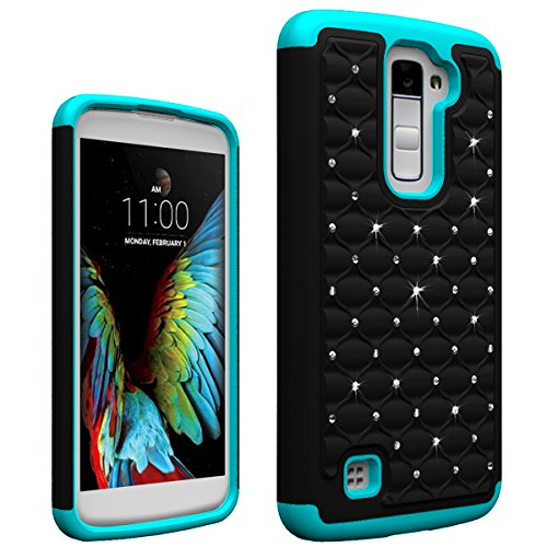 LG K10 Case, Berry Accessory(TM) Studded Rhinestone Crystal Bling Hybrid Armor Case Cover for LG K10 With Free Berry logo stand holder (Black / Blue) (Iphone 5 Protective Sheets compare prices)