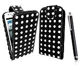 Blackberry Curve 9360 Ultra Slim White Polka Dots with Black Base Print Vertical High Quality Pu Leather Flip Case Cover Plus Long Black Stylus Pen, Screen Protector & Screen Polishing Cloth