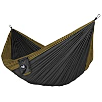 Neolite Double Camping Hammock - Lightweight Portable Nylon Parachute Hammock for Backpacking, Travel, Beach, Yard. Hammock Straps & Steel Carabiners Included