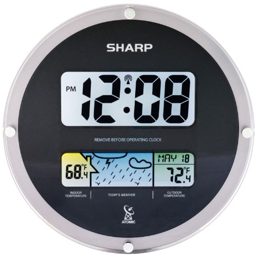 SHARP, Digital Wall Clock with Wireless Weather Display - Black