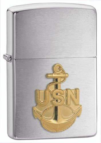 Zippo United States Navy Emblem Pocket Lighter, Brushed Chrome