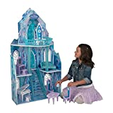 The Disney Frozen Ice Castle Dollhouse is perfect for any child who wants to be transported into the wonderful world of Frozen. Frozen-themed artwork on every panel and a gorgeous icy throne and chandelier bring this dollhouse to life!