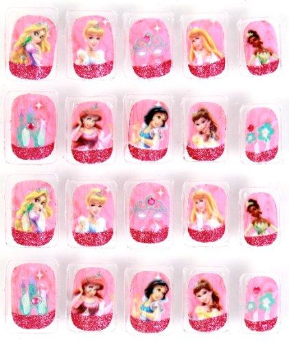 Princess Themed Nails: Disney 20-Piece Princess Themed Press-On Nail Set, 1-Pack