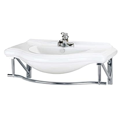"Deluxe Large Wall Mount Console Sink 4"" Centerset Towel Bar 