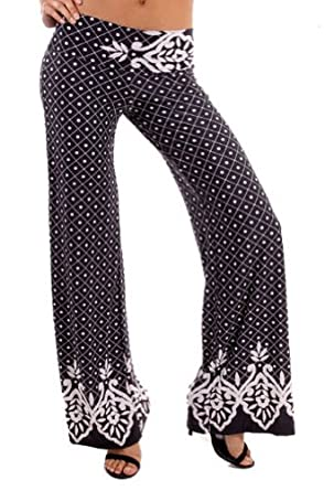 Buy Fashion Forever Best Black Dot 6033 Fold Over Waist Palazzo Pants by Fashion Forever