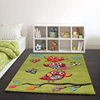 Kids Carpet Cute Owls Modern Children Rug in Green Cream Red Blue Orange by PHC