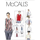 McCall's Patterns M2447 Men's Lined Vest, Shirt, Tie In Two Lengths and Bow Tie, Size Z (XLG-XXL-XXXL)