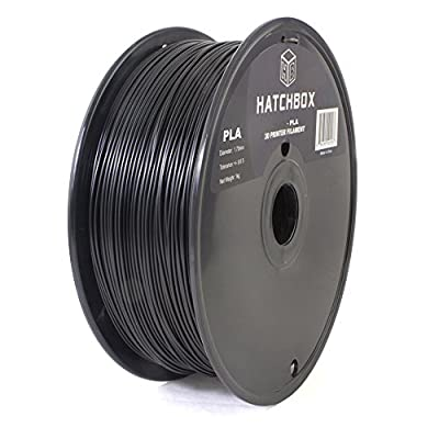 HATCHBOX 3D PLA-1KG1.75-BLK PLA 3D Printer Filament, Dimensional Accuracy +/- 0.05 mm, 1 kg Spool, 1.75 mm, Black
