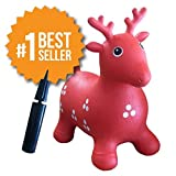 Inflatable Hopper - Rated #1 and Cutest Bouncy Seat for kids on Amazon. Ruffio the Animal Deer Comes with a Free Bonus Pump. Safer Than Childrens Hopping Bouncer Balls - Made with USA Eco-Friendly Materials. 100% Lifetime Money-back Guarantee, Red