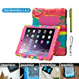 Aceguarder global design new products iPad mini 1&2&3 case snowproof waterproof dirtproof shockproof cover case with stand Super protection for kids Outdoor adventure sports tourism Gifts Outdoor Carabiner + whistle + handwritten touch pen (ACEGUARDER brand) (Ice/Rose)