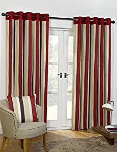 "Striped Cotton Mix Ring Top Lined Red Black 90"" X 90"" Thick Curtains *wotsdap* from Curtains"