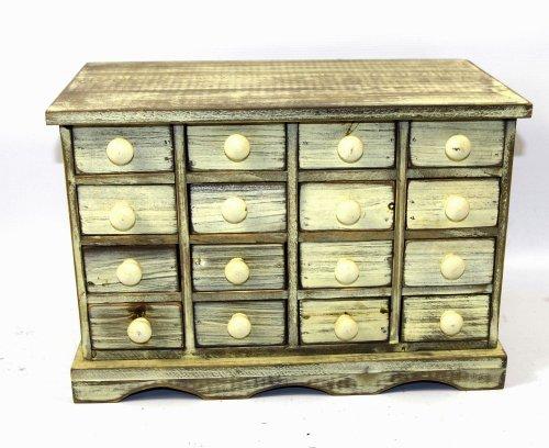 Geko 16 tiroir 35 x 19 x 24 cm Mini-entreposage Bijou tiroirs, bois blanc Shabb ...