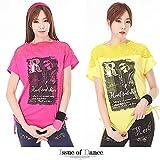 ドルマン Tシャツ トップス エアロビクスウェア ズンバウェア ダンスウェア レディース issue (FREE, ピンク)
