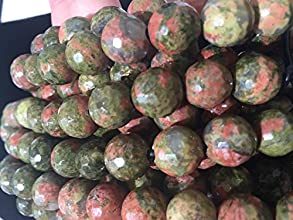 AfricaGemsUSA 25mm Large Hole Natural Brazilian Unakite 12mm Faceted Round Beads Approx 8 inches