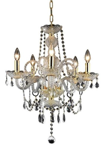 Elegant Lighting 7835D20G/Rc Princeton 22-Inch High 5-Light Chandelier, Gold Finish With Crystal (Clear) Royal Cut Rc Crystal front-838878