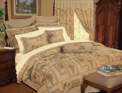9 Pc Tropical Palm Tree Decor Tapestry Style California King Size Comforter Set front-993441