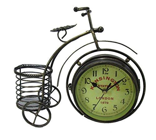 ビンテージ風 おしゃれな 自転車型 小物入れ付き 両面 文字盤 置時計