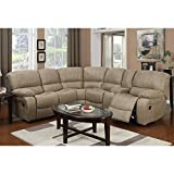E-Motion Furniture Taupe Bomber Jacket 7-Piece Dual Reclining Sectional