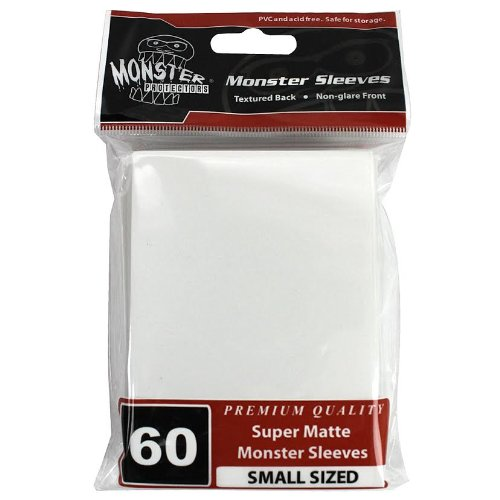 Sleeves - Monster Protector Sleeves - Smaller Size Super Matte - WHITE (Fits Yugioh and Other Smaller Sized Gaming Cards) - 1