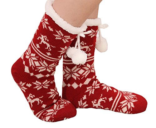 Slipper Socks Women Tube Socks Christmas Stocking Fleece Lining