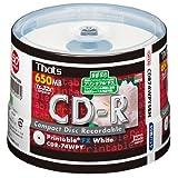 太陽誘電製 That's CD-Rデータ用 32倍速650MB プリンタブル スピンドルケース50枚入 CDR74WPYSBN