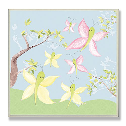The Kids Room by Stupell Pink and Green Butterflies Square Wall Plaque