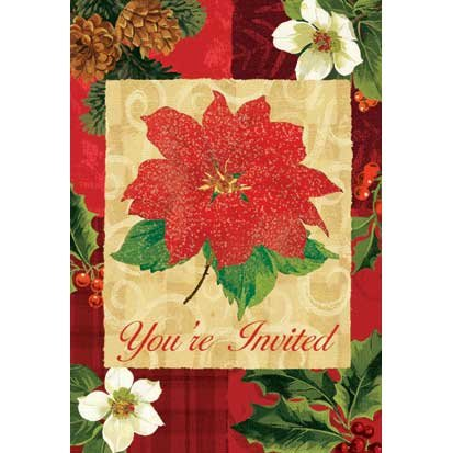 Holiday Botanical Glitter Invitations 8ct