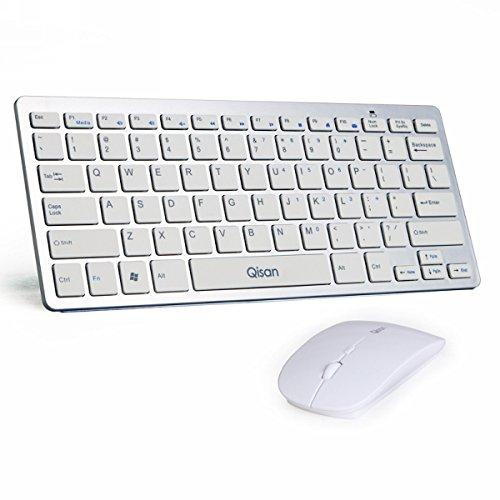 Qisan 78-Key Keyboard + Ultra Thin Mouse D1000 Wireless Combo(White)