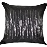 "That's Perfect!® Club Style 18""x18"" Decorative Silk Throw Pillow Cover (Midnight Black)"