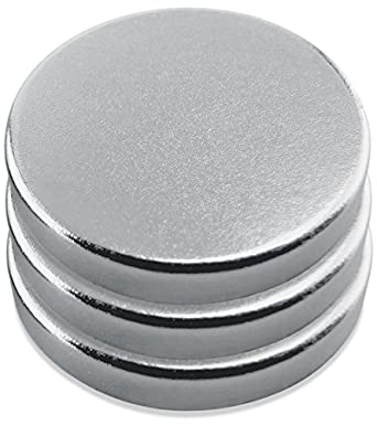 "Neodymium, Rare Earth Magnet Discs, Nickel Plate,0.709"" Diameter, 0.118"" Thick, 7 Pounds(Pack of 3)"