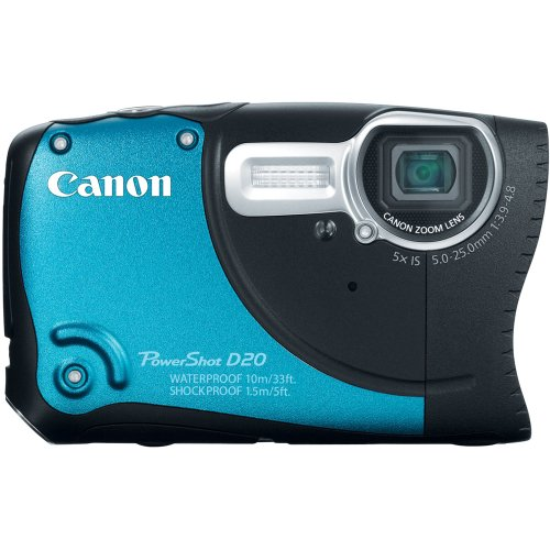 Canon PowerShot D20 12.1 MP CMOS Waterproof Digital Camera with 5x Image Stabilized Zoom 28mm Wide-Angle Lens a 3.0-Inch LCD and GPS Tracking (Blue)