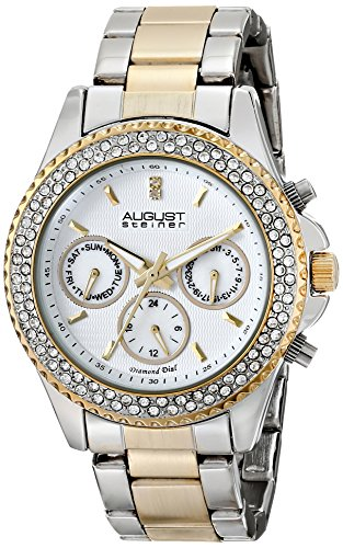 August Steiner Women's Swiss Quartz Multifunction Diamond & Crystal Silver-tone and Gold-tone Bracelet Watch