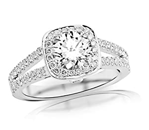 1.19 Carat GIA Certified Round Cut / Shape Gorgeous Split Shank Halo Style And Bezel Set Round Diamond Engagement Ring ( E Color , VVS2 Clarity )