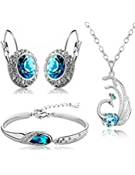 YouBella Presents Gracias Collection Crsytal Peacock Jewellery Combo Of Necklace Set / Pendant Set With Earrings...