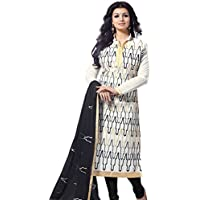 M Fab Ethnic Embroidered White And Black Free Size Straight Chudidar Salvar Suit Dress Material