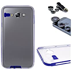 DMG LED Flashing Call Notification TPU Back Cover Case for Samsung Galaxy E7 (Blue) + 3in1 Fisheye Wide Angle and Macro Lens