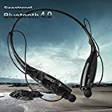 EGRD Upgrade Version Apt-X Bluetooth 4.0 Wireless Sports Stereo Headsets , Part Support Voice Control Function Music Earphones, Universal Neckband Headphones for Smartphones (Black).