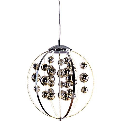 Heitronic Pendelleuchte Royal, Kugelform, Metallstäbe mit 32W warmweißem LED Strip und Glaskugeln, chrome HEI-27698