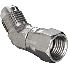 "Brennan 6502-06-06-SS, Stainless Steel JIC Tube Fitting, 06MJ-06FJS 45 Degrees Elbow, 3/8"" Tube OD"
