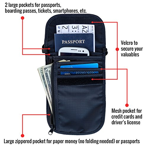 Travel Navigator Neck Wallet and Passport Holder with RFID Blocking for Security
