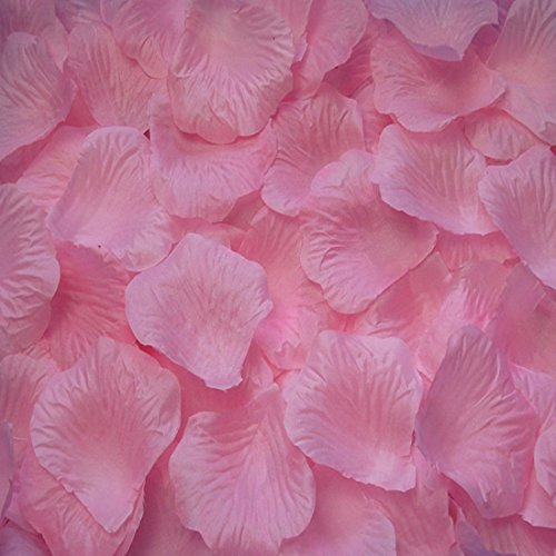 Pack of 1000 Silk Rose Petals, Artificial Flowers for Decoration Wedding Party (Light Pink)